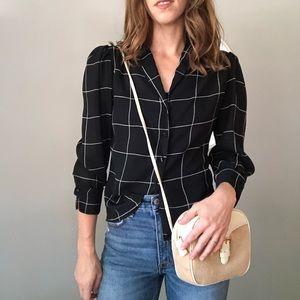 Vintage puffed sleeve windowpane blouse